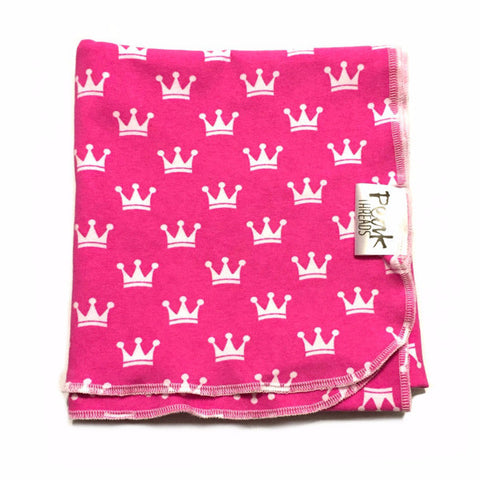 Bright Pink Crowns Swaddle Blanket