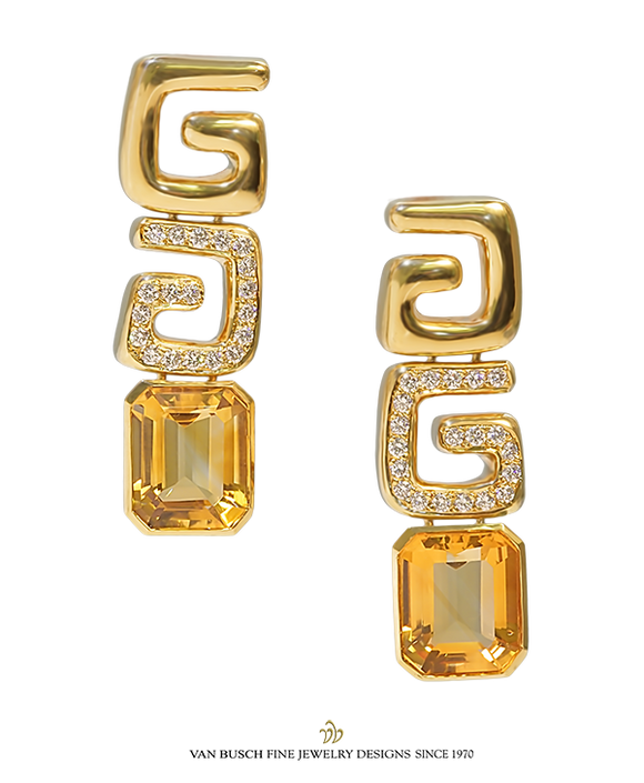 Yellow Citrine and Diamond Earrings