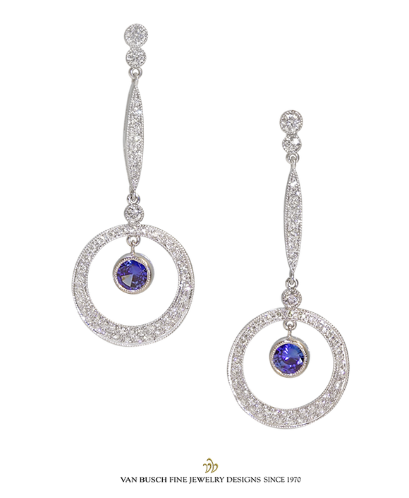 Dangling Sapphire and Diamond Earrings