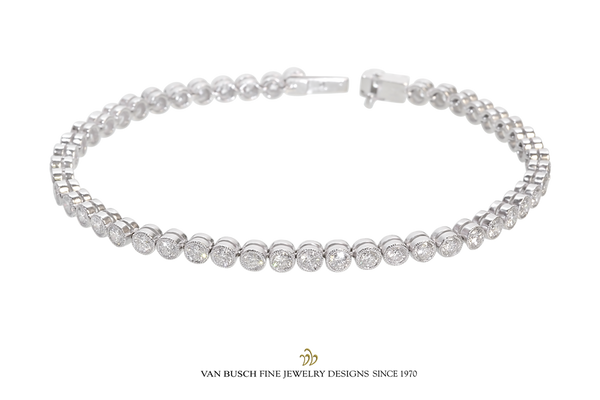 Bezel-Set Diamond Tennis Bracelet