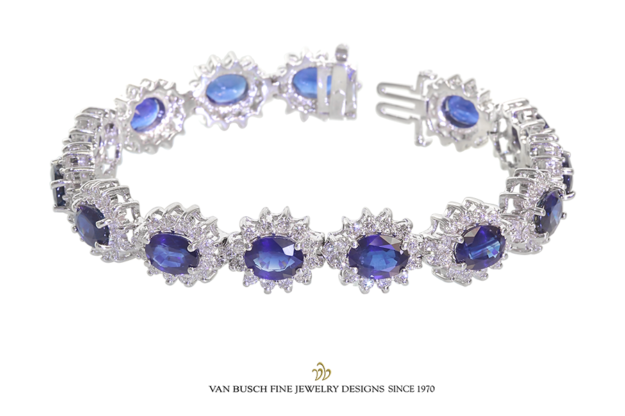 Oval Sapphire and Diamond Bracelet