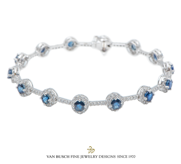 Sapphire and Diamond Cluster Bracelet