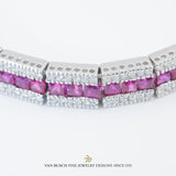 Square Ruby and Round Diamond Bracelet