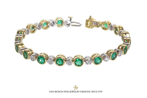 Emerald and Diamond Flexible Bracelet