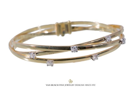 Three-Row Bangle Bracelet with Diamonds