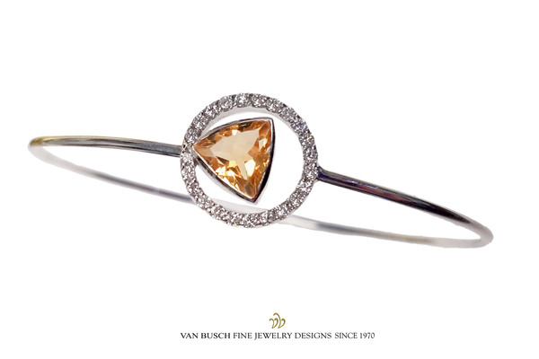 Citrine and Diamond Bangle Bracelet