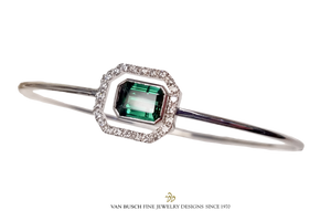 Green Tourmaline and Diamond Bangle Bracelet