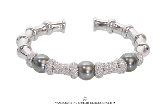 Open Cuff Pearl and Diamond Bangle