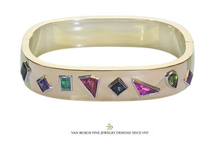 Gold Gem-Set Bangle