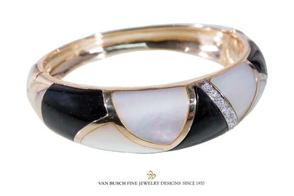 Black Onyx, Mother of Pearl and Diamond Bangle Bracelet