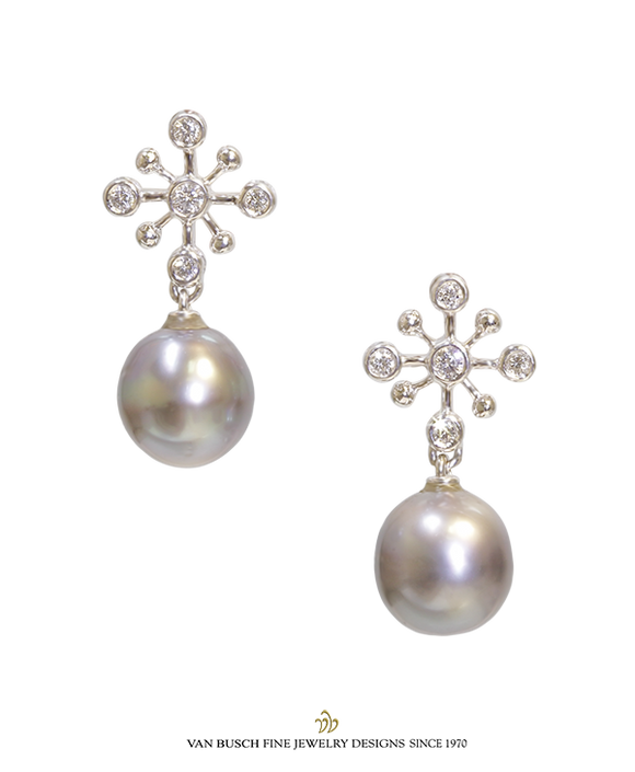 Grey Pearl and Diamond Earrings