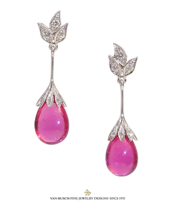 Briolette Rubelite and Diamond Earrings