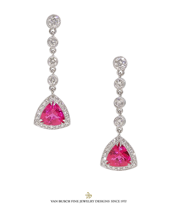 Rubelite and Diamond Earrings