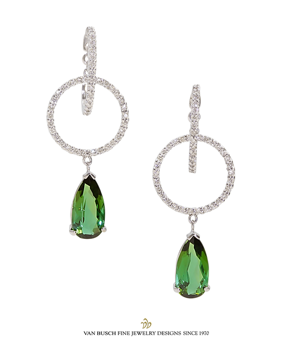 Green Tourmaline and Diamond Earrings