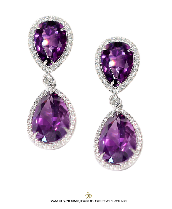 Diamond and Amethyst Drop Earrings