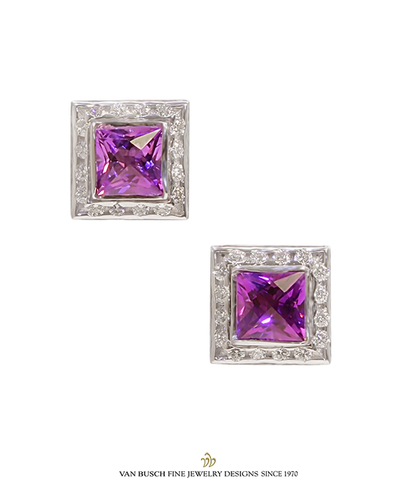 Square-Cut Amethyst and Diamond Earrings