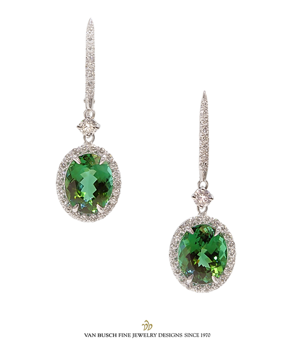 Oval-Cut Green Tourmaline and Diamond Earrings