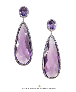 Long Amethyst and Diamond Earrings