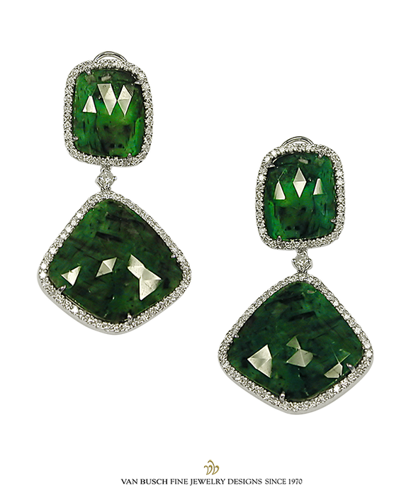 Sliced Emeralds and Diamond Earrings