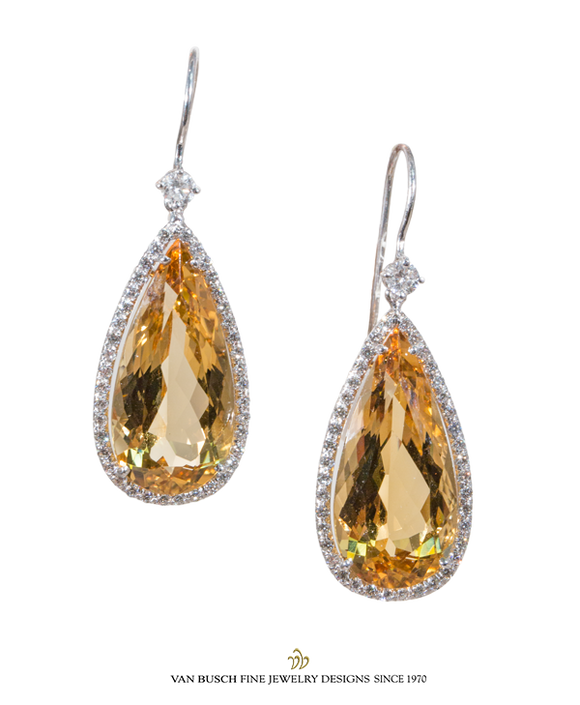 Pear-Shaped Citrine and Diamond Earrings