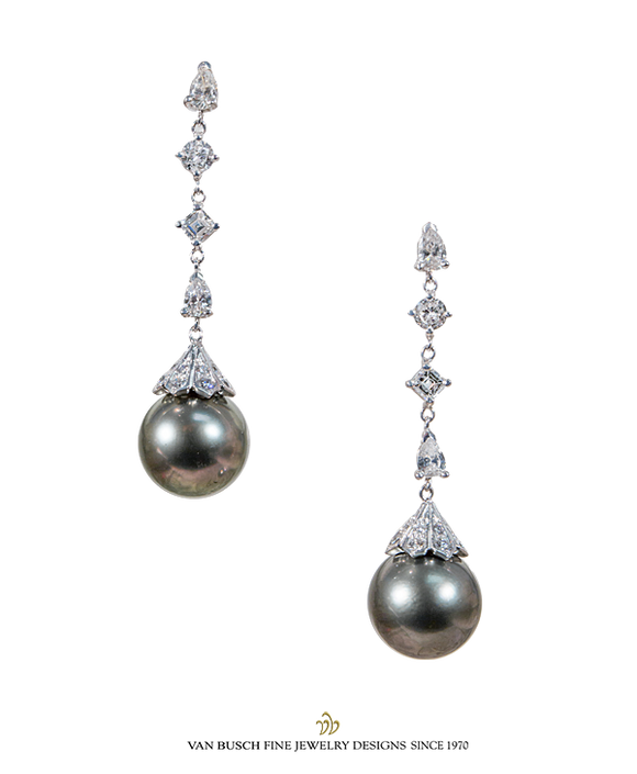 South Sea Grey Pearl and Diamond Earrings