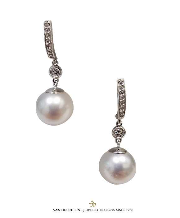 South Sea Pearl and Diamond Dangling Earrings