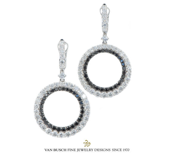 Pavé White and Black Diamond Earrings