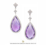 Pear-Shaped Amethyst and Diamond Dangling Earrings