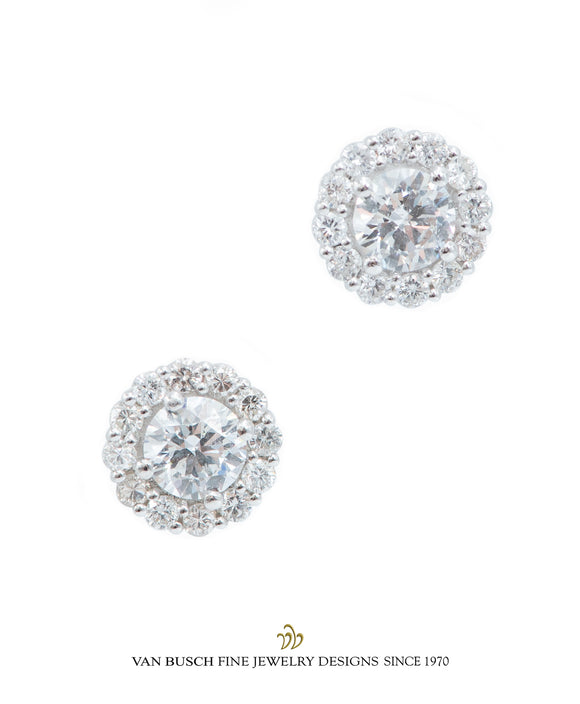 Round Diamond Halo Earrings