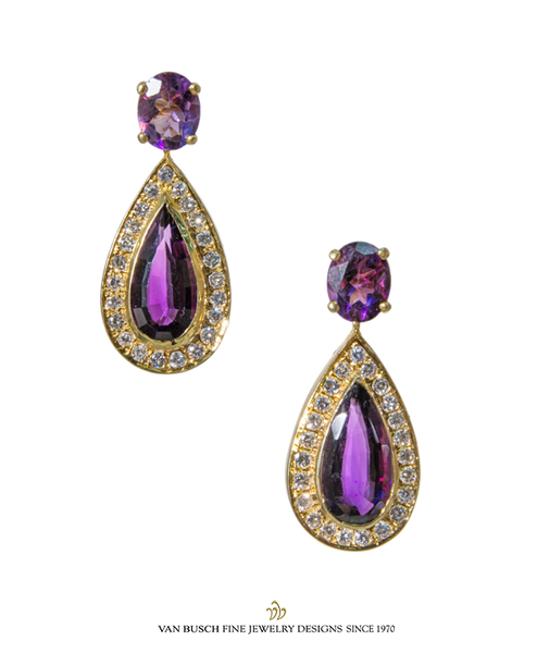 Amethyst and Diamond Dangling Earrings