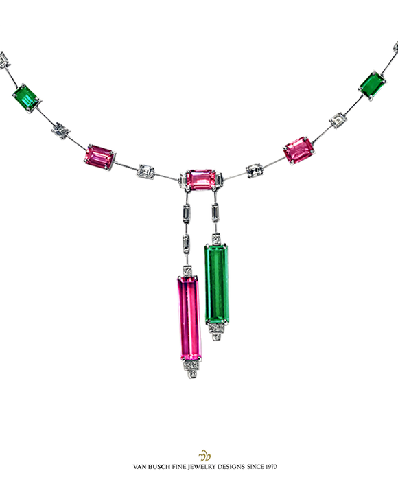 Pink, Green Tourmaline and Diamond Necklace