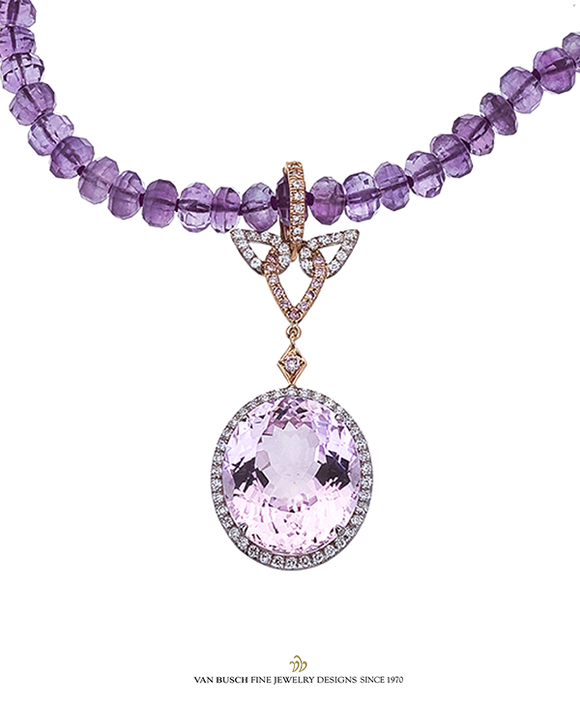Kunzite and Diamond Pendant Necklace