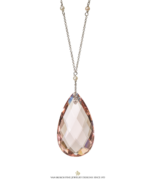 Morganite and Pearl Pendant
