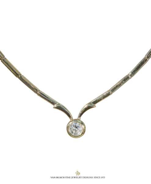 Link Necklace with Diamond Center
