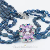 Kyanite Beads with Kunzite Centerpiece