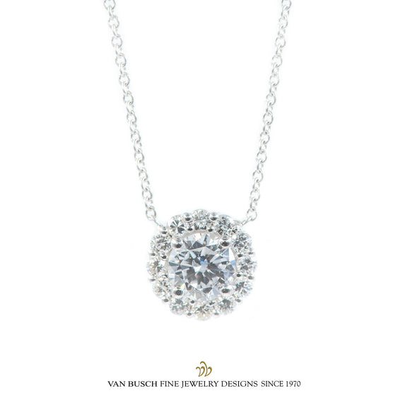 Round Diamond Halo Necklace
