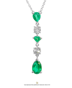 5-Tier Emerald and Diamond Necklace