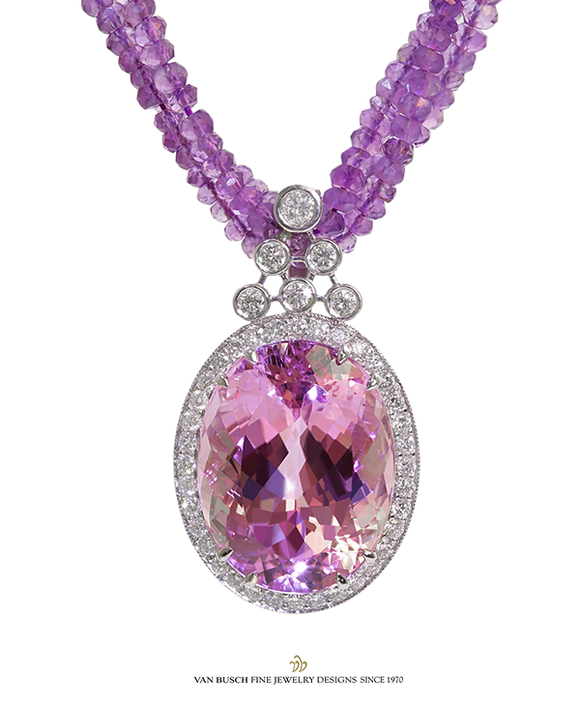 Oval Kunzite and Diamond Necklace