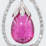 Antique Look Briolette Rubelite and Diamond Pendant