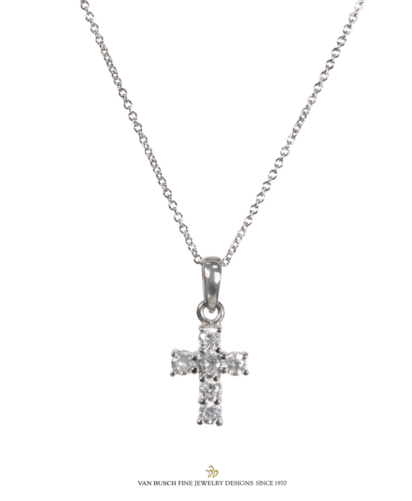 diamond collection small pendant necklace tiny chains cross coin faith roberto in treasures white gold