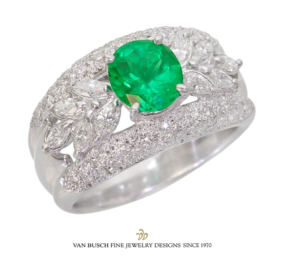 Wide-Band Emerald and Diamond Ring