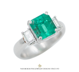 Emerald-Cut Emerald and Diamond Ring