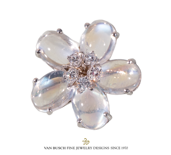 Moonstone and Diamond Flower Ring