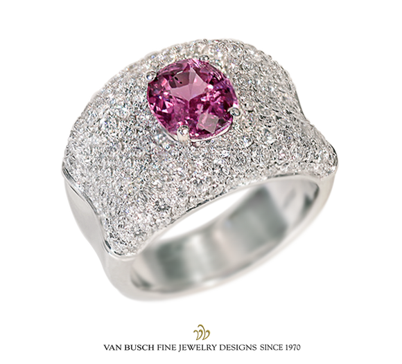 Pavé-Set Pink Sapphire and Diamond Ring