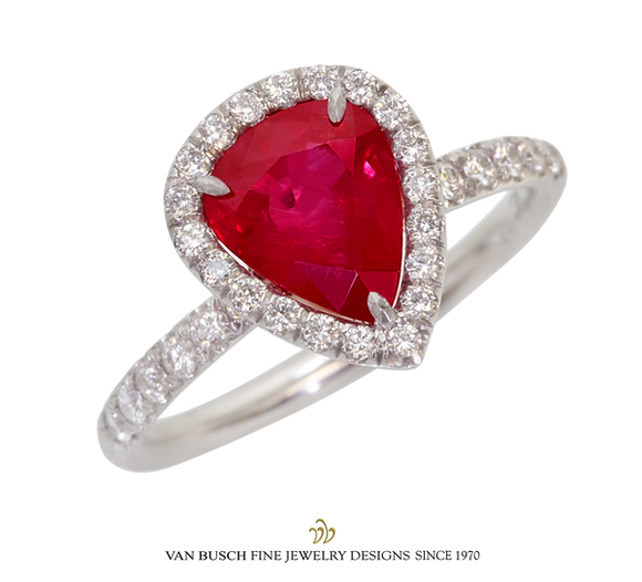 Pear-Shaped Ruby and Diamond Ring