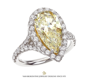 Important Yellow Pear-Shaped Diamond Ring