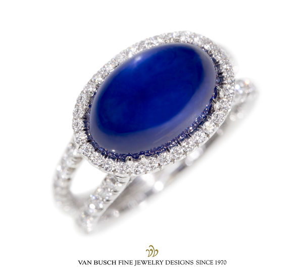 Cabochon-Cut Sapphire and Diamond Ring