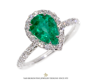 Pear-Shaped Emerald and Diamond Ring