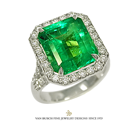 6.42 ct. Emerald and Diamond Ring