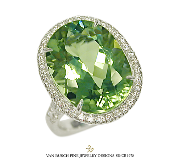 Green Amethyst and Diamond Ring
